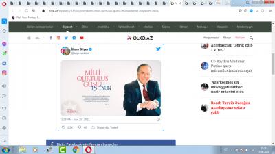 Prezident Milli Qurtuluş Günü münasibətilə paylaşım edib