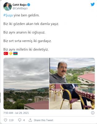 """Cahid Bağcıdan Şuşa paylaşımı: """"Eyni ananın iki oğluyuq"""" - FOTO"""